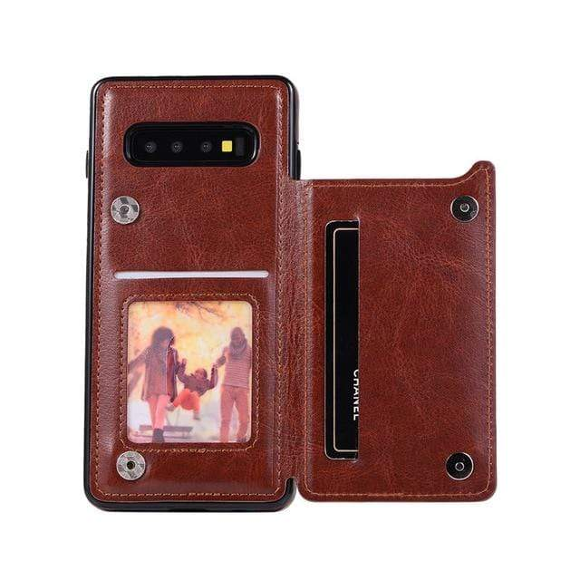 Leather Samsung Galaxy Note Wallet Case For Galaxy S7 / Brown