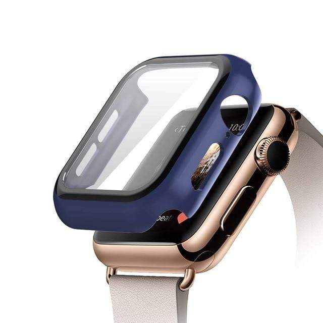 Tempered Glass Apple Watch Protective Case Mindnight blue / 38mm series 3 2 1