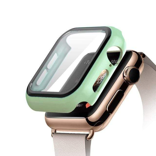 Tempered Glass Apple Watch Protective Case Mint / 38mm series 3 2 1