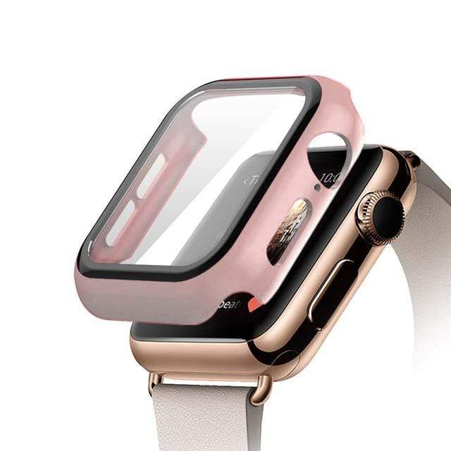 Tempered Glass Apple Watch Protective Case Pink / 38mm series 3 2 1