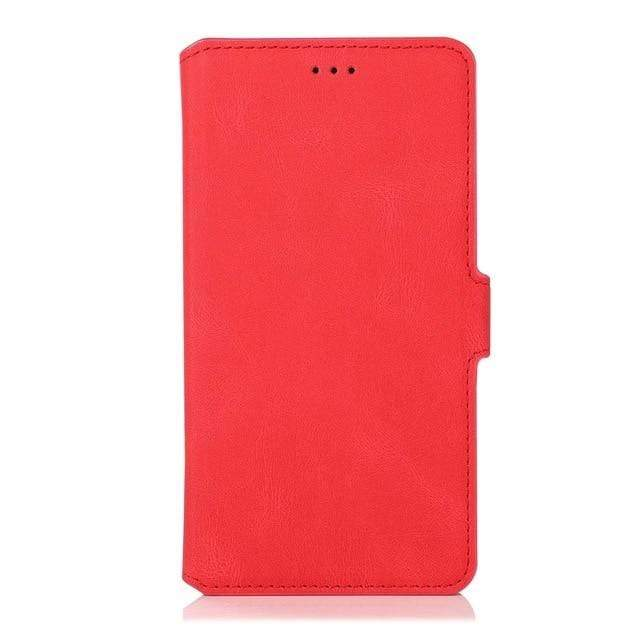 Flip Leather Samsung Galaxy Wallet Case For Galaxy A10 / Red