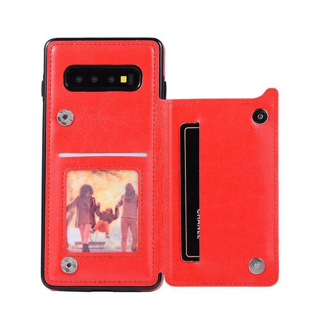 Leather Samsung Galaxy Note Wallet Case For Galaxy S7 / Red