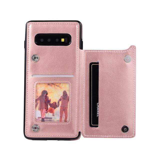 Leather Samsung Galaxy Note Wallet Case For Galaxy S7 / Rose Gold