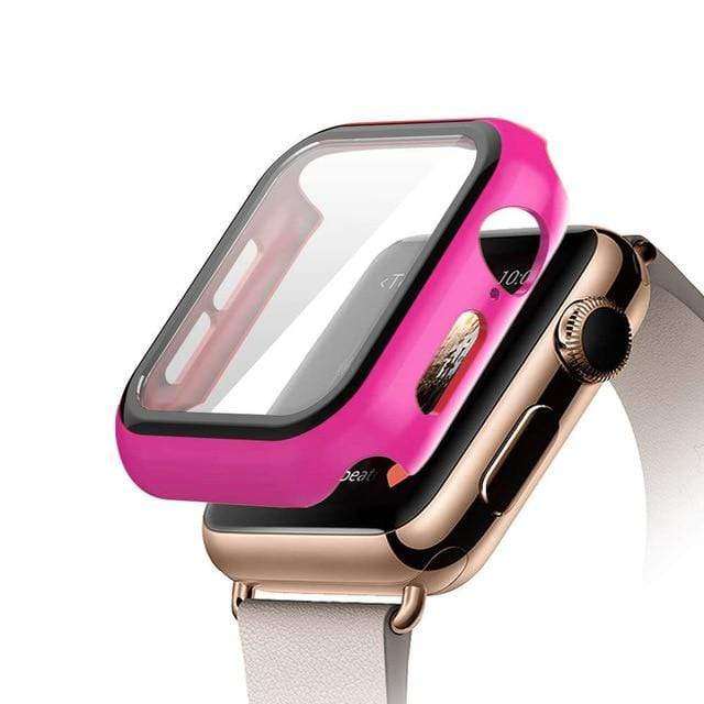 Tempered Glass Apple Watch Protective Case Rose red / 38mm series 3 2 1