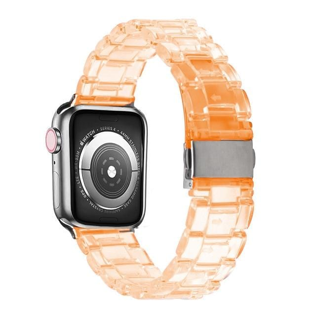 Transparent Resin Apple Watch Band Transparent orange / 44mm series 5 4