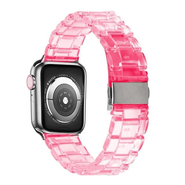 Transparent Resin Apple Watch Band Transparent pink / 44mm series 5 4