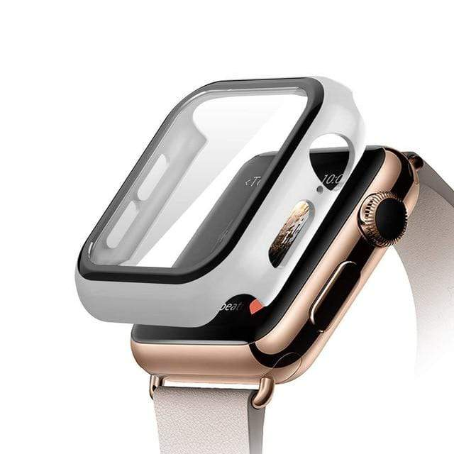Tempered Glass Apple Watch Protective Case White / 38mm series 3 2 1