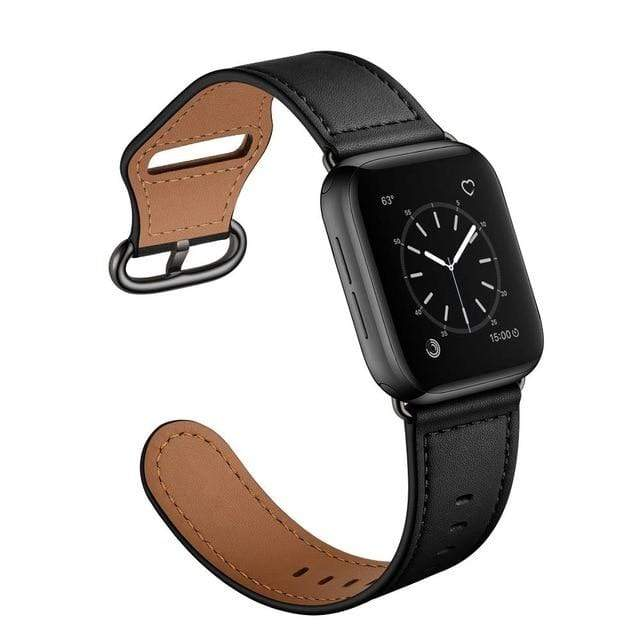 Easy Fasten Leather Apple Watch Band Black With Buckle / 38mm/40mm