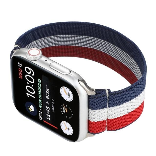 Elastic Buckle Free Apple Watch Bands blue white red / for 38mm or 40mm