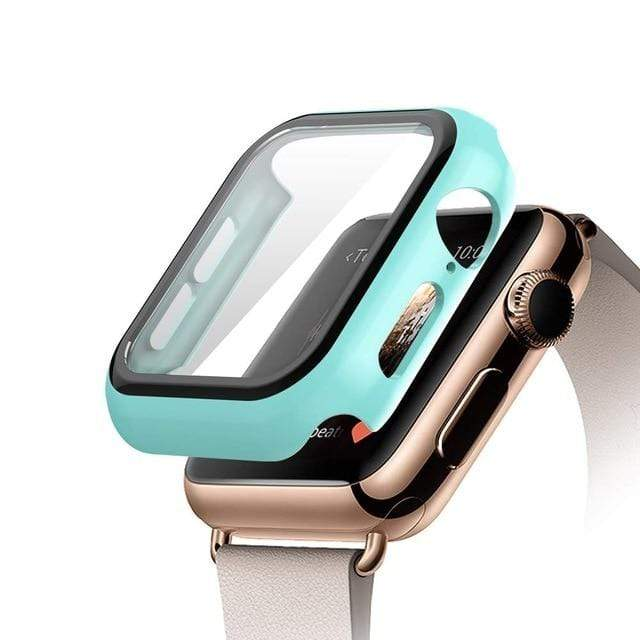 Tempered Glass Apple Watch Protective Case light blue / 38mm series 3 2 1