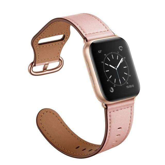 Easy Fasten Leather Apple Watch Band Pink With Buckle / 38mm/40mm
