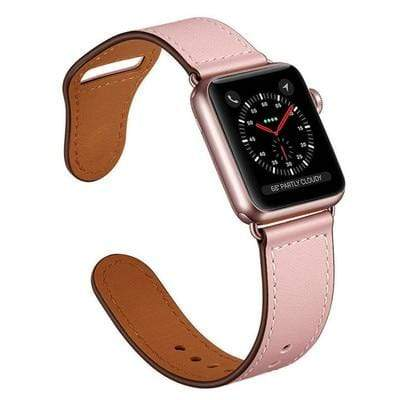 Easy Fasten Leather Apple Watch Band Pink / 38mm/40mm