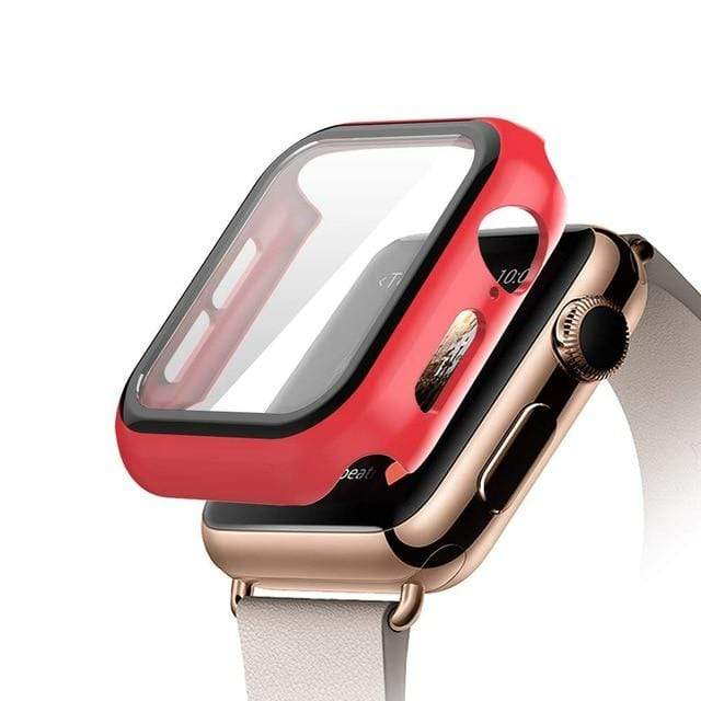 Tempered Glass Apple Watch Protective Case red / 38mm series 3 2 1