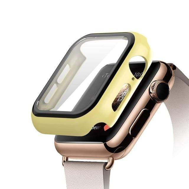 Tempered Glass Apple Watch Protective Case yellow / 38mm series 3 2 1