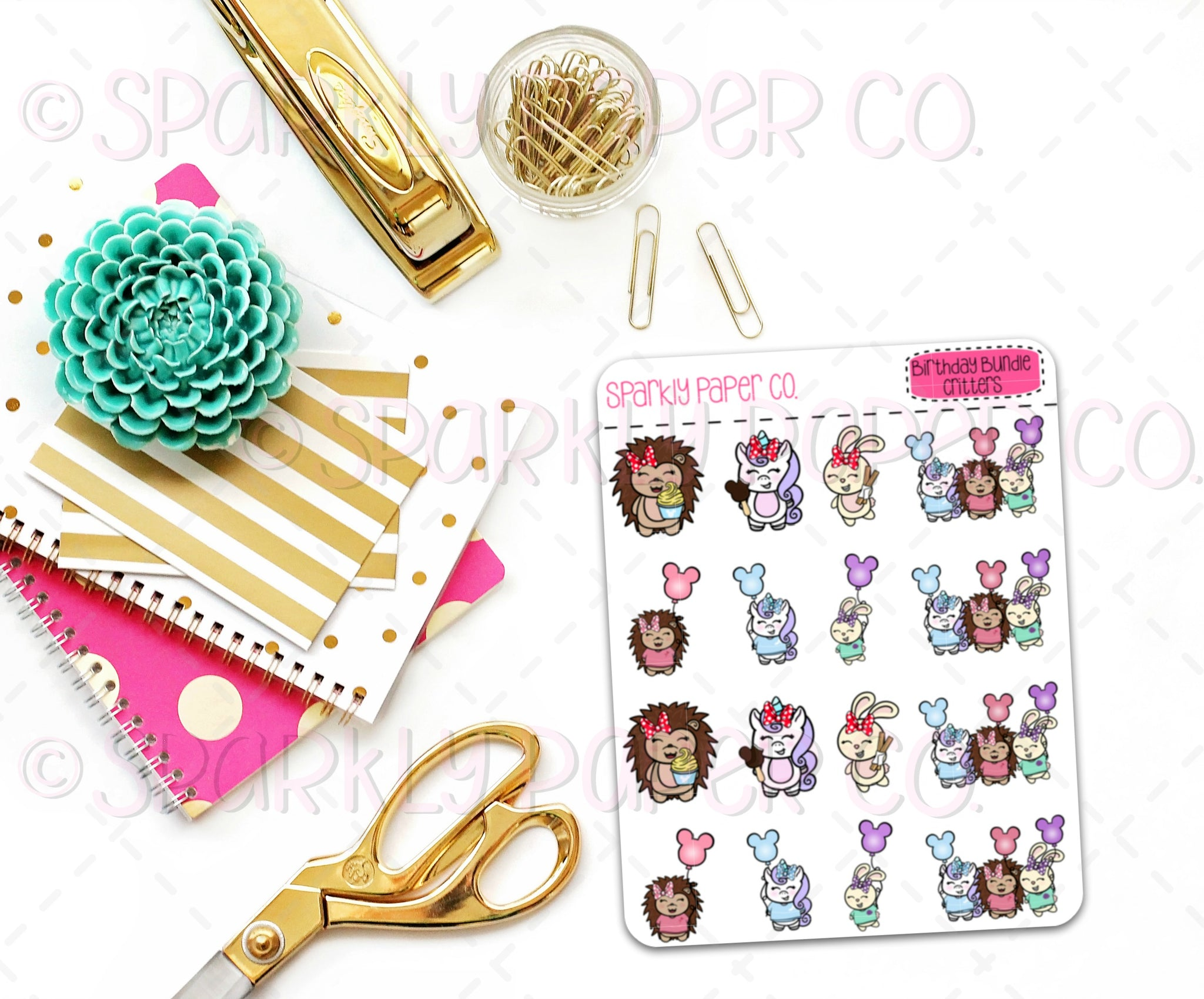 Magical Birthday Critters Stickers ( matte removable)