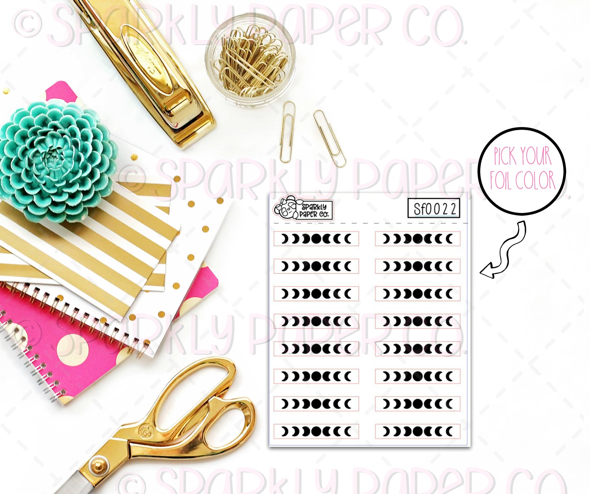 Foiled Moon Phase Stickers (clear paper) SF0022