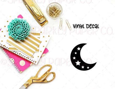 Moon with Stars Vinyl Decal