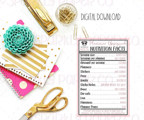 Planner Nutrition Facts DIGITAL DOWNLOAD