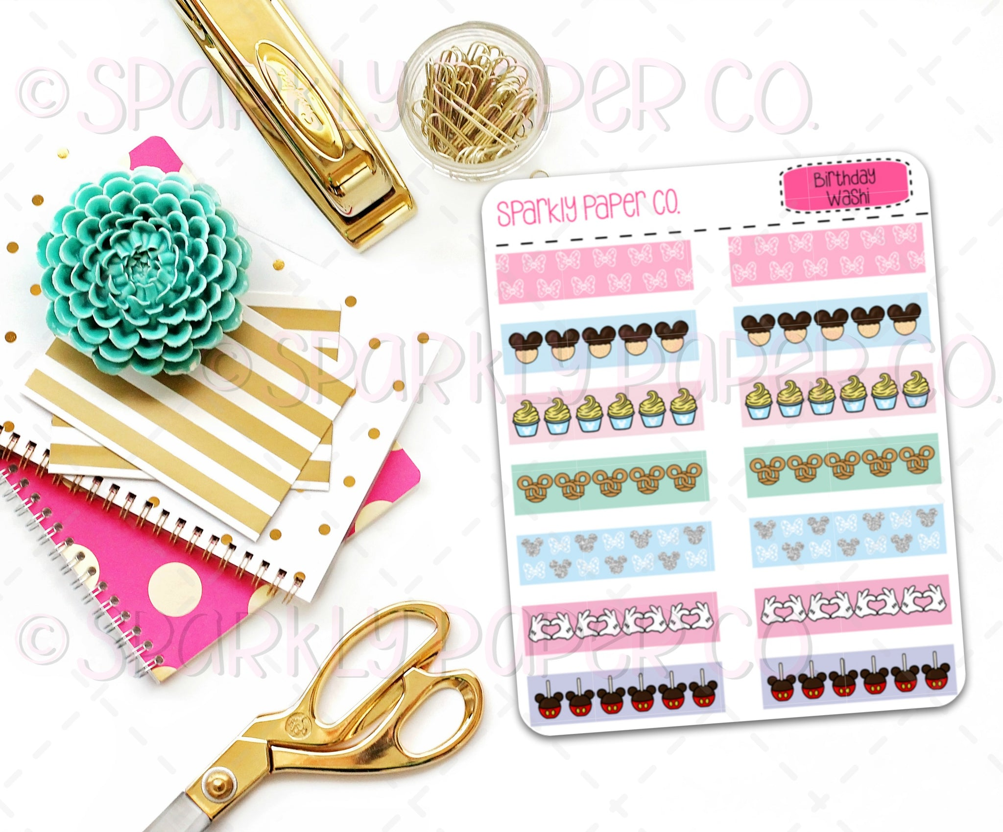 Magical Birthday Washi Strips Stickers (matte removable)