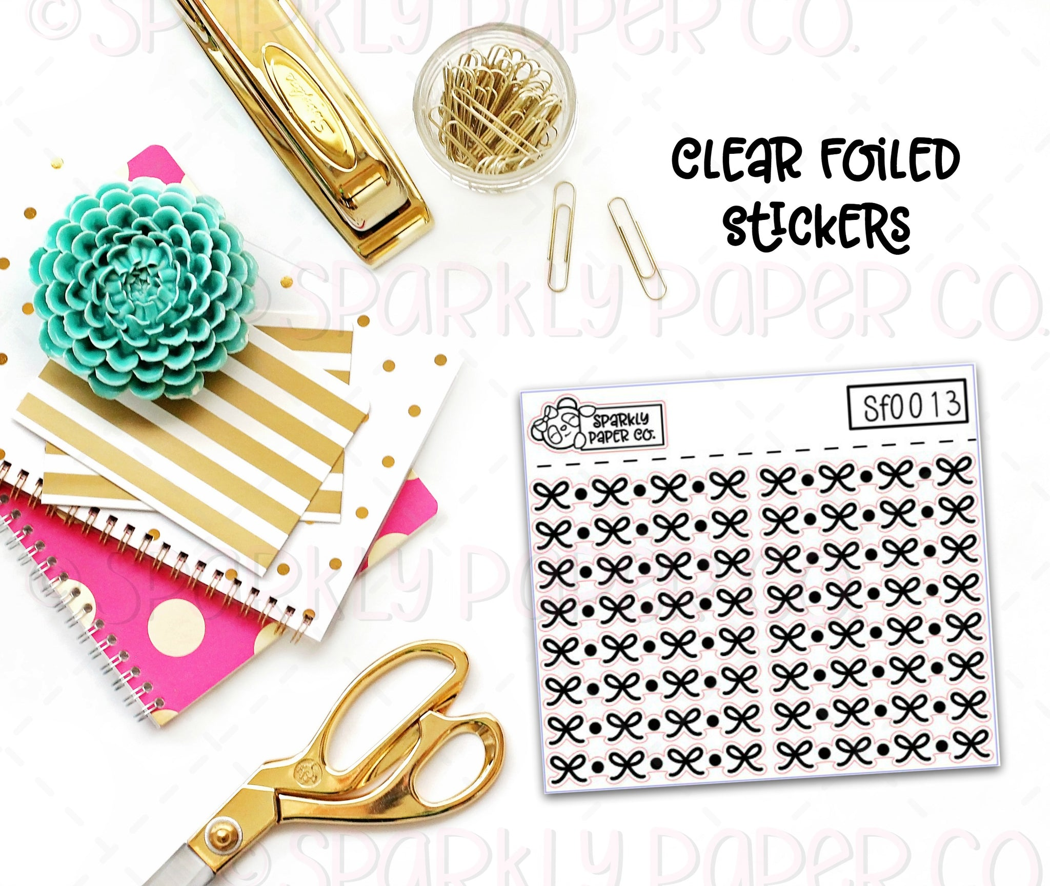 Bows and Dots Header/Dividers Clear Foiled Stickers (sf0013)