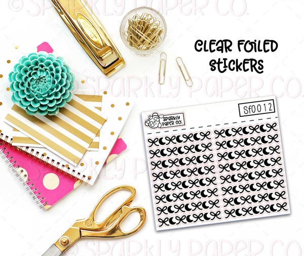 Bows and Moons Header/Dividers Clear Foiled Stickers (sf0012)