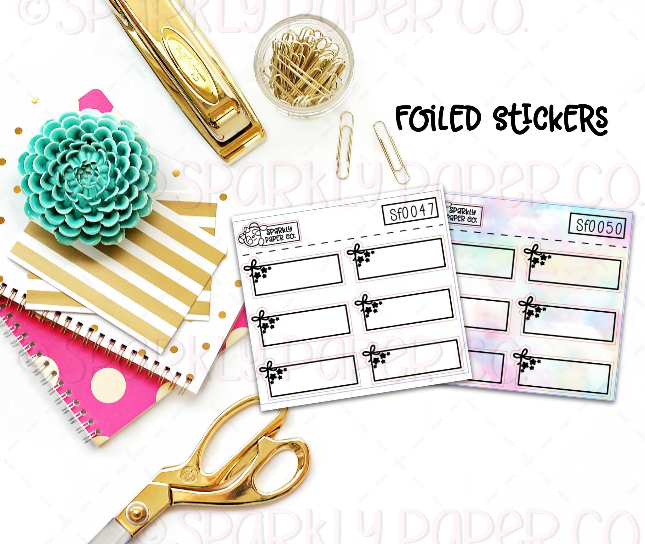 Foiled Bows and Stars Quarter Box Stickers (premium matte)