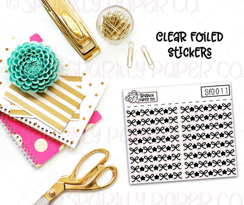 Bows and Stars Header/Dividers Clear Foiled Stickers (sf0011)
