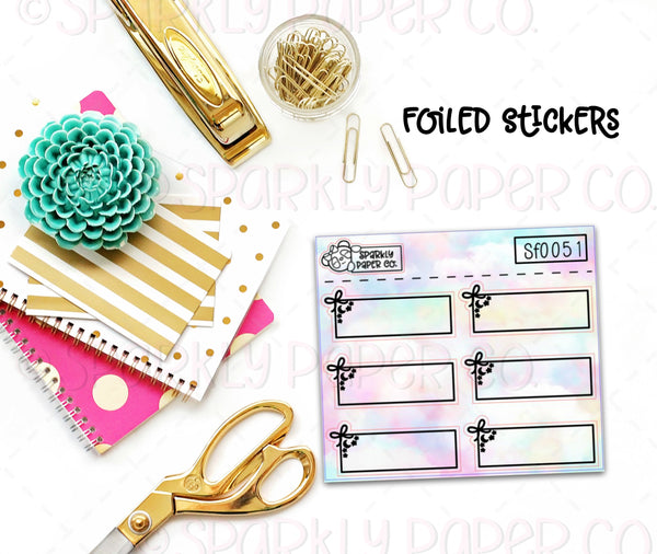 Foiled Bows, Moons, and Stars Quarter Box Stickers (premium matte)