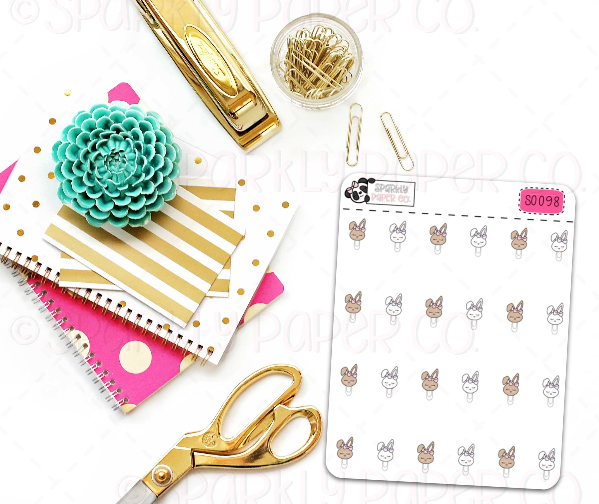 Bunny Head Clips Stickers (matte removable) S0098