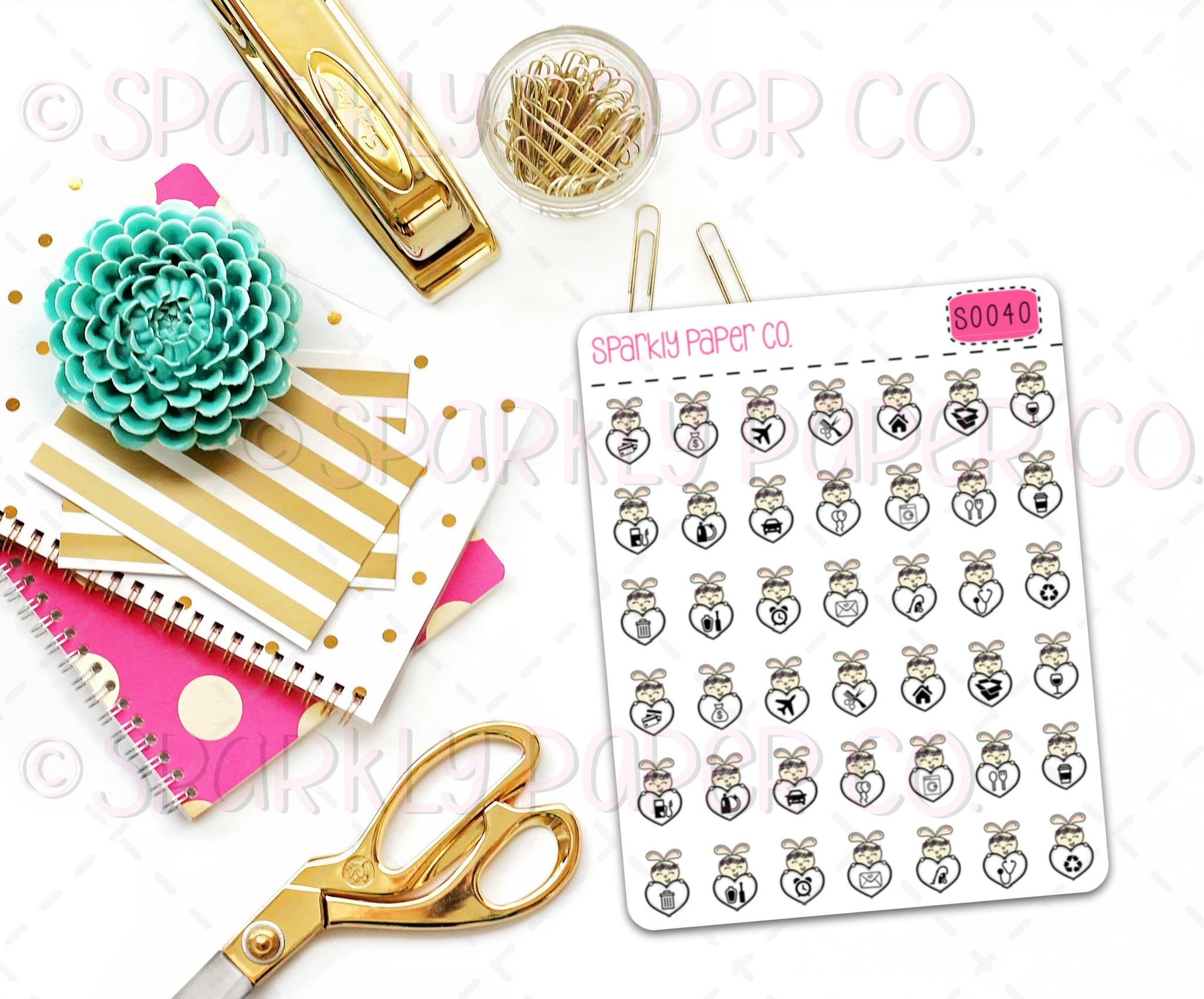 Bunny Icons Planner Stickers (matte removable) S0040