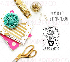 Churros and Whips Clear Sticker Foiled Die Cut
