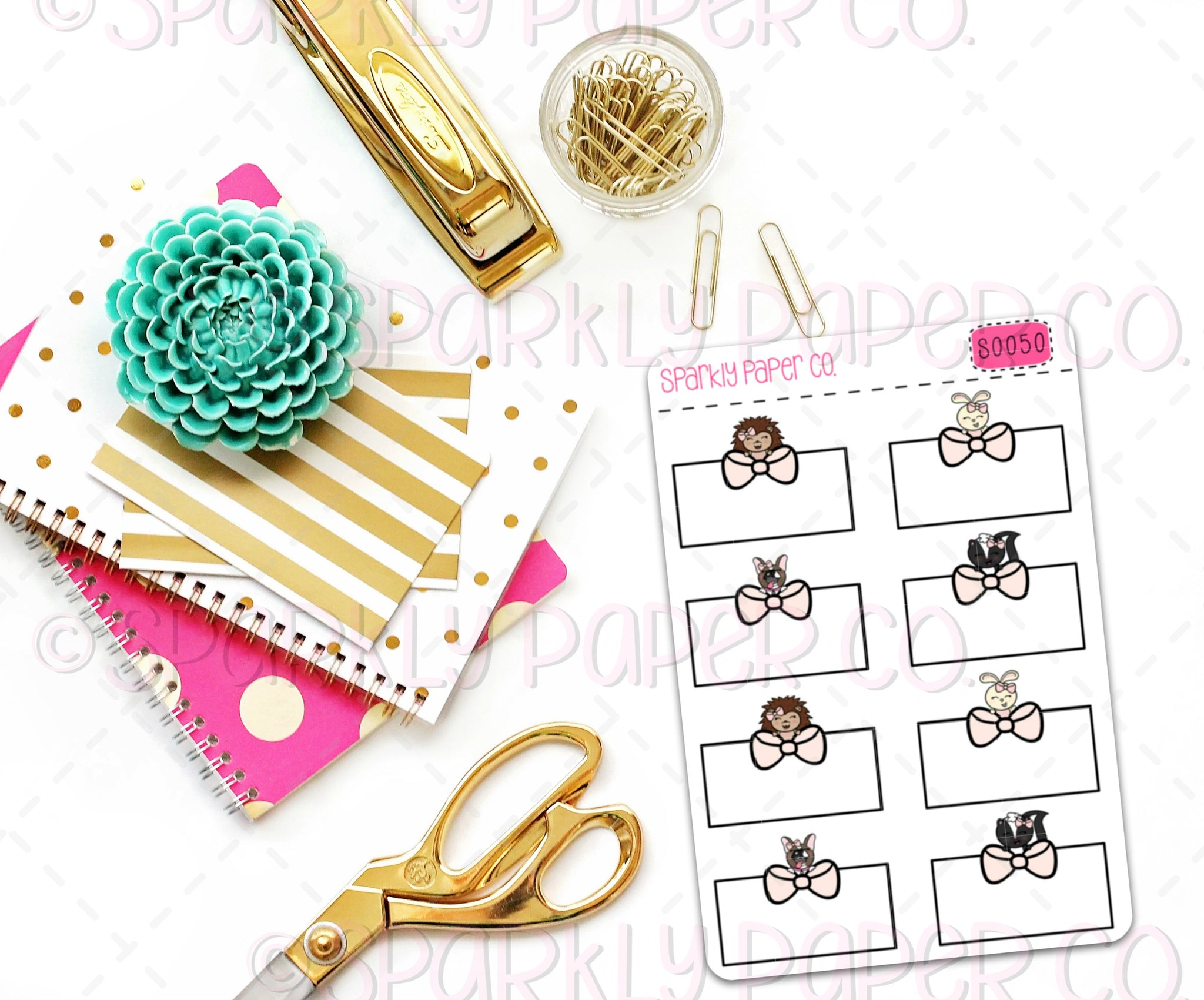 Critter Bow Half Box Planner Stickers (matte removable) S0050