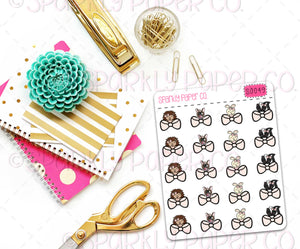 Peeking Critter Bows Planner Stickers (matte removable) S0049