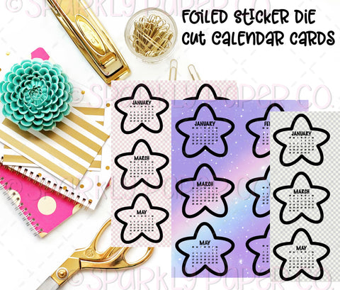 Foiled Chubby Star Calendar Die Cut