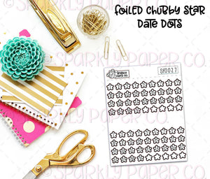 Foiled Chubby Star Date Dots (clear paper) SF0027