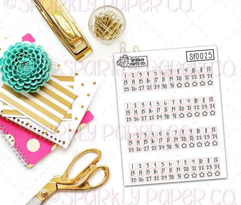 Foiled Date Stickers (clear paper) SF0025