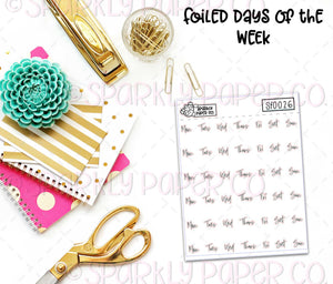 Foiled Days of the Week (clear paper) SF0026
