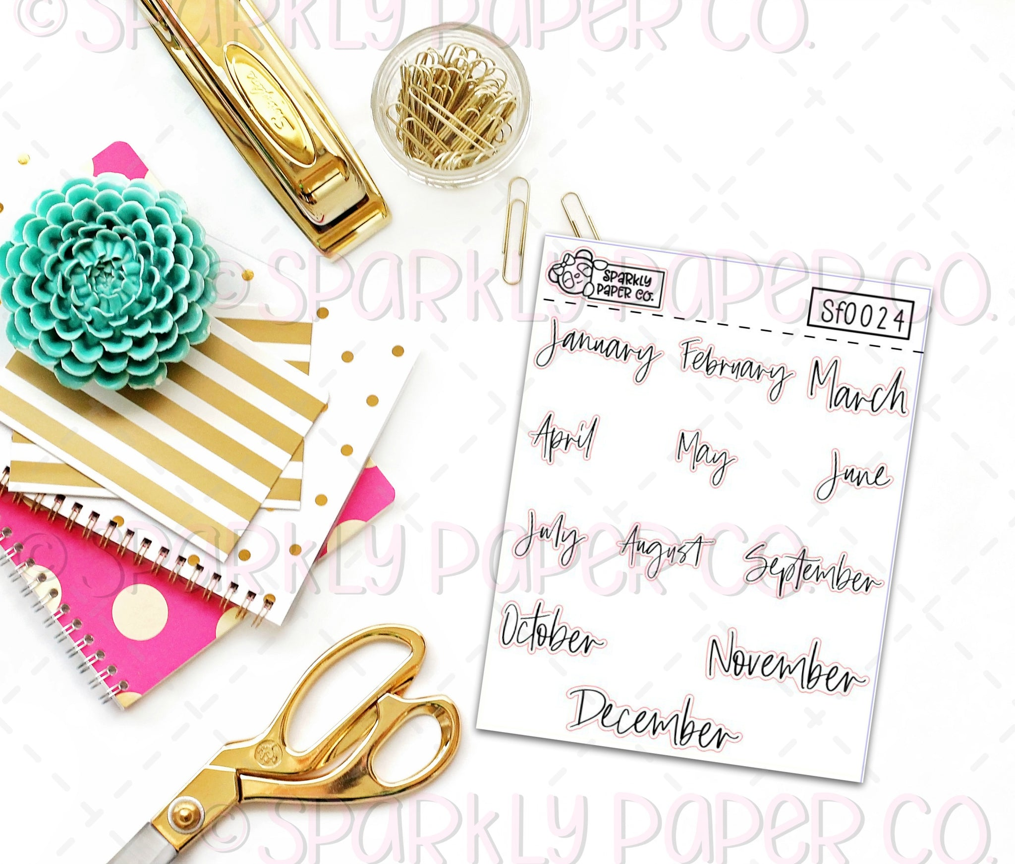 Foiled Monthly Stickers (clear paper) SF0024