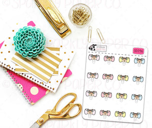 Frances Bow Head Clips Stickers (matte removable) S0096