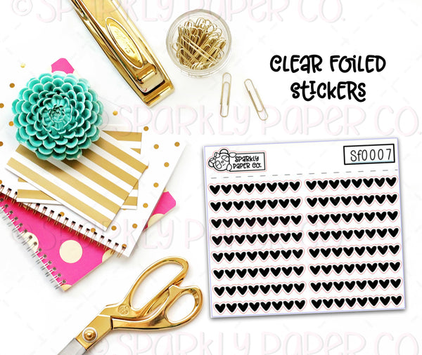 Hearts Header/Dividers Clear Foiled Stickers (sf0007)