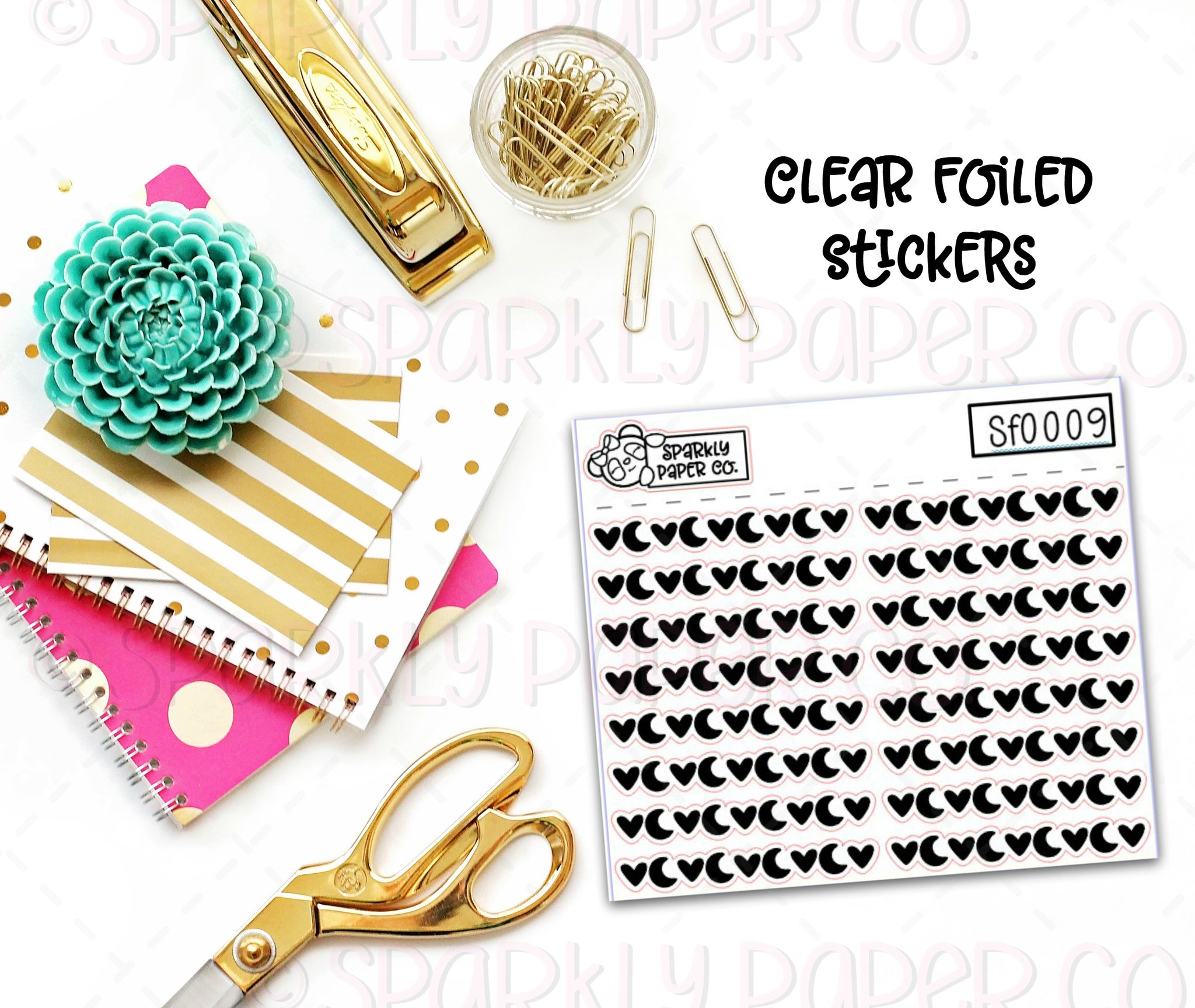 Hearts and Moons Header/Dividers Clear Foiled Stickers (sf0009)