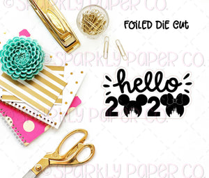 Hello 2020 Castle Mouse Foiled Sticker Die cut