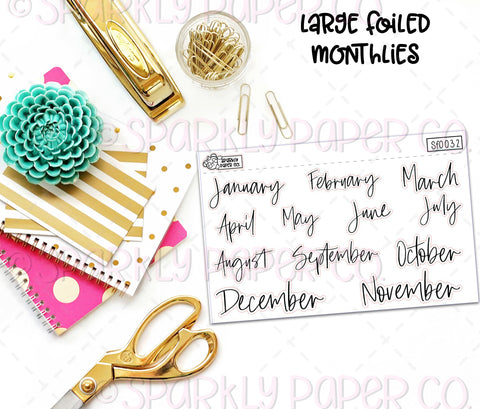 Large Foiled Monthlies (clear paper) SF0032