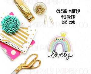 Lovely Rainbow CLEAR MATTE Sticker Die Cut