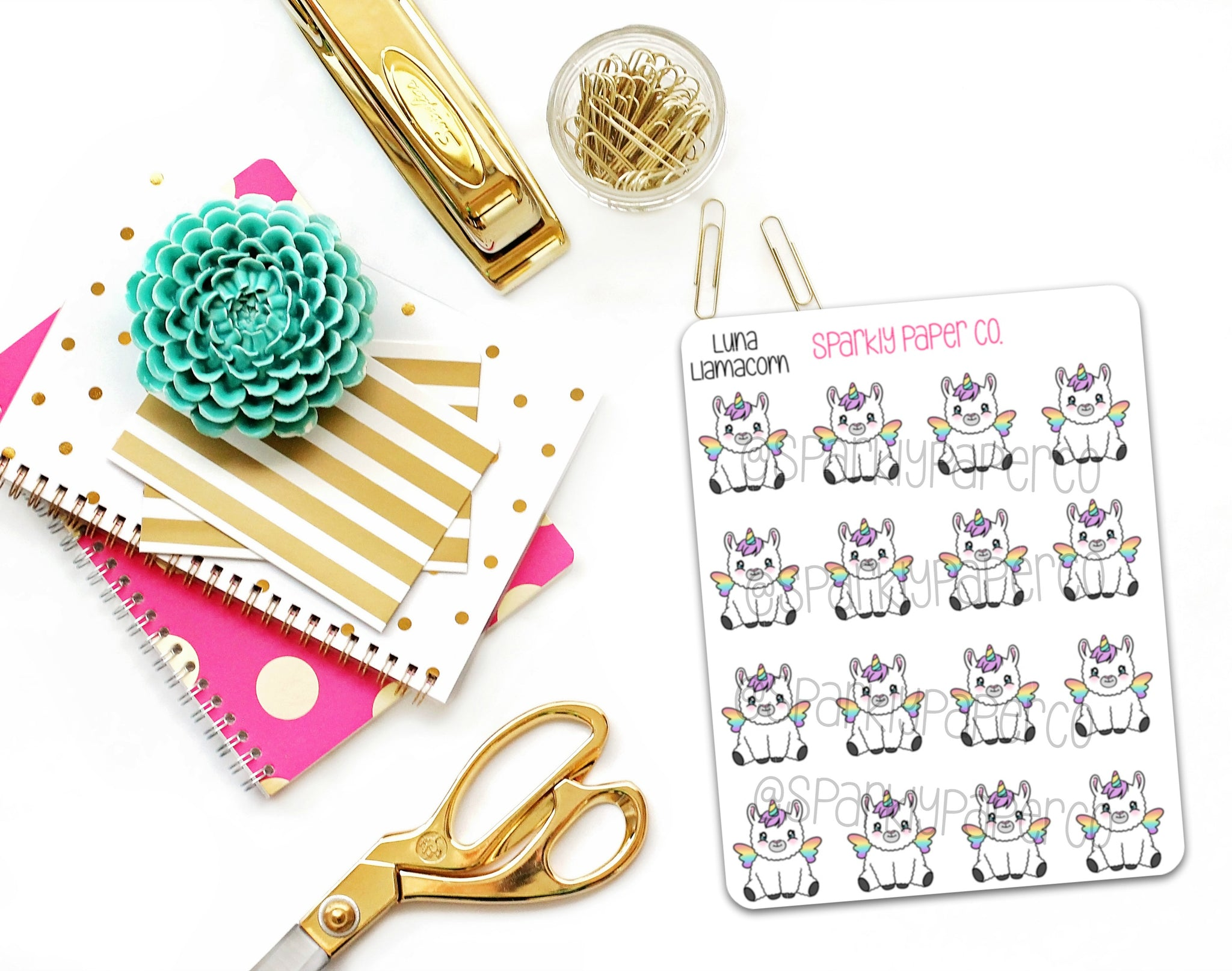 Luna the Llamacorn Planner Stickers