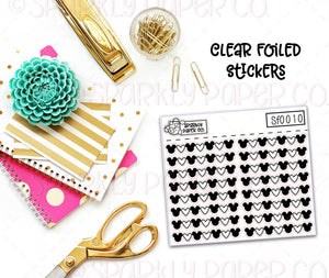 Mouse Head and Hearts Header/Dividers Clear Foiled Stickers (sf0010)
