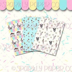 Ice Cream Collab Double Sided Shimmer Paper (3pack)