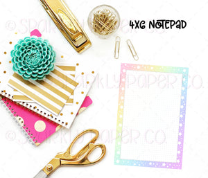 Pastel Rainbow Dot Grid 4x6 Notepad