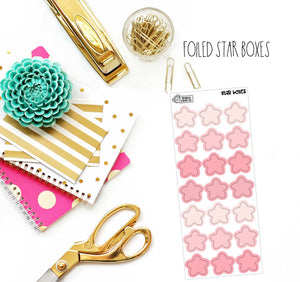 Pink Foiled Star Boxes (Light Gold Foil)