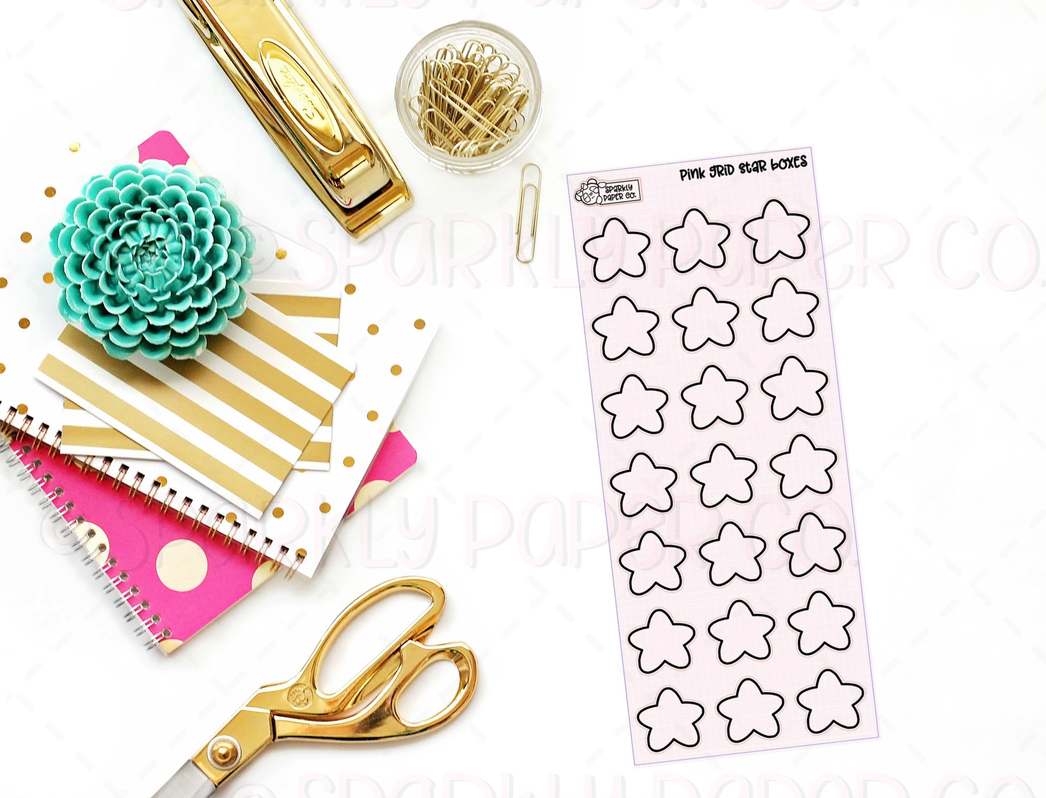 Pink Grid Foiled Chubby Stars